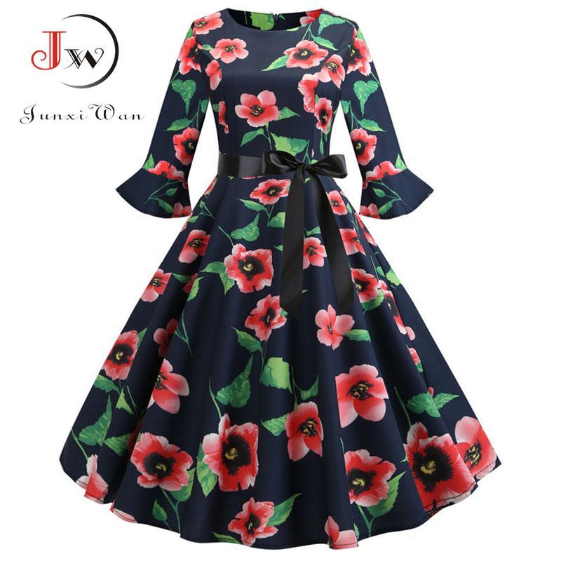 5ba86b91ce Floral Print Vintage Dress Christmas Dress Women Winter Elegant Party  Dresses 2018 Petal Sleeve Casual Midi Plus Size Bridal Dress One Shoulder  Dresses From ...
