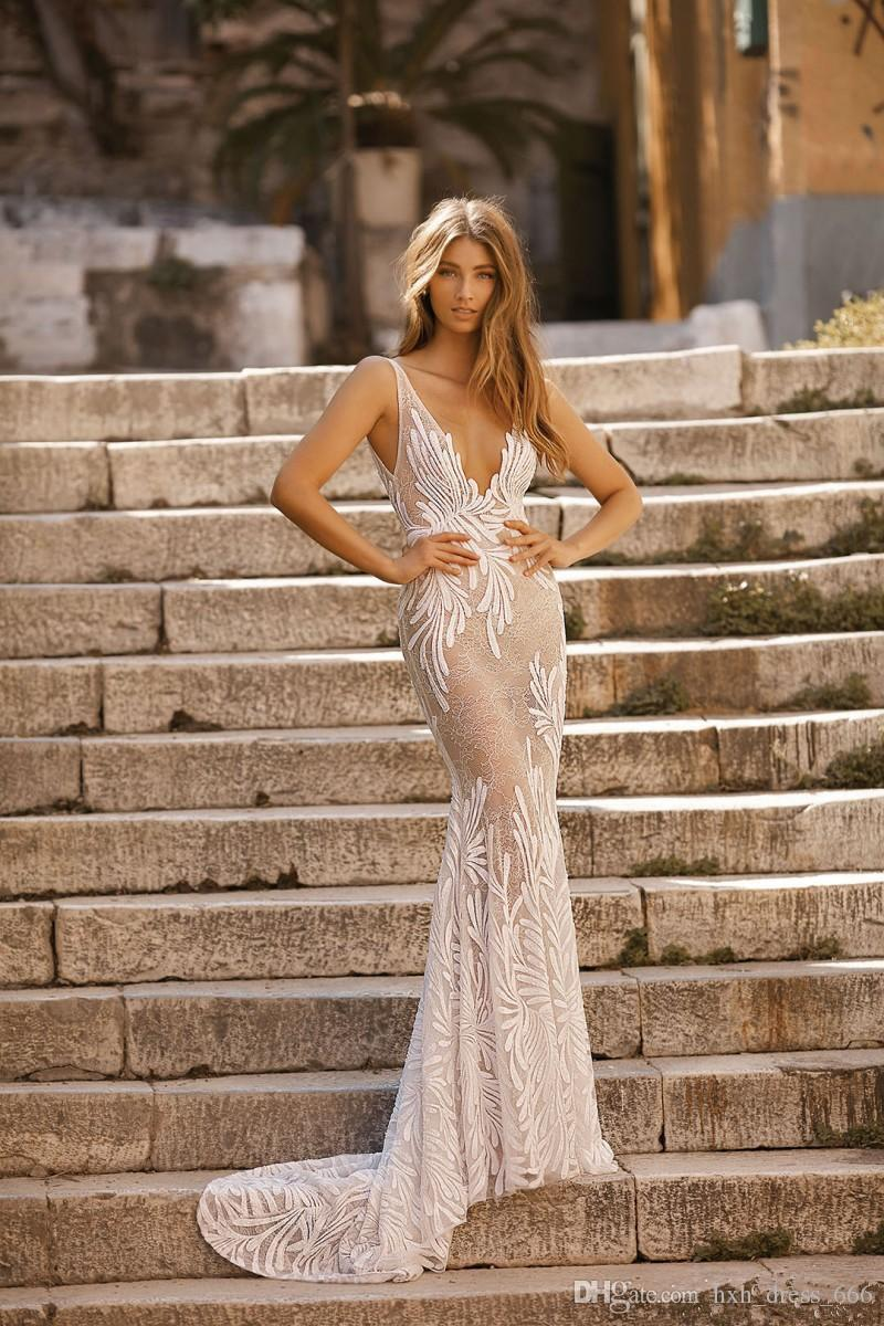 2019 New Berta Mermaid Wedding Dresses V Neck Backless Lace Bridal Gowns With Appliqued Princess Beach Wedding Dress plus size vestidos