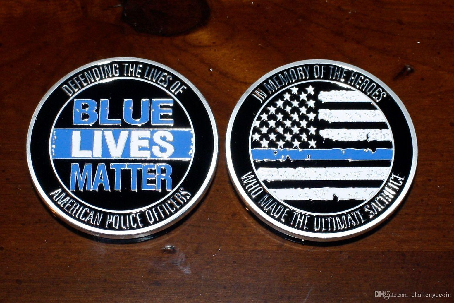Free Shipping 5pcs/lot,Blue Lives Matter Challenge Coin Defending the  American Police Officers Medal Coin Custom US Flag Coins Souvenir Gif