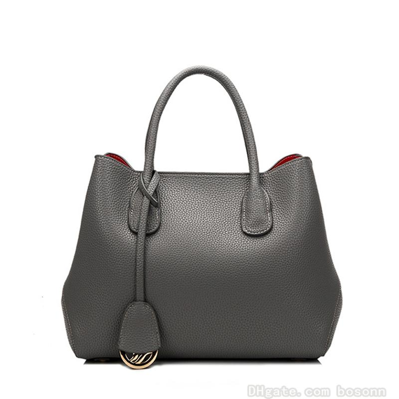 High Quality Genuine Leather Tote Bag Fashion Luxury Womens Handbag Designer Large Messenger Purse (Red Black Grey)