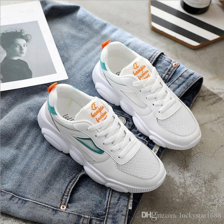 95a5df3d0d 2019 New Fashion Women Casual Shoes Trends Ins Female White Flats Platform  Spring Summer Lace Up Women Sneakers Size 35 40 Vegan Shoes Comfort Shoes  From ...