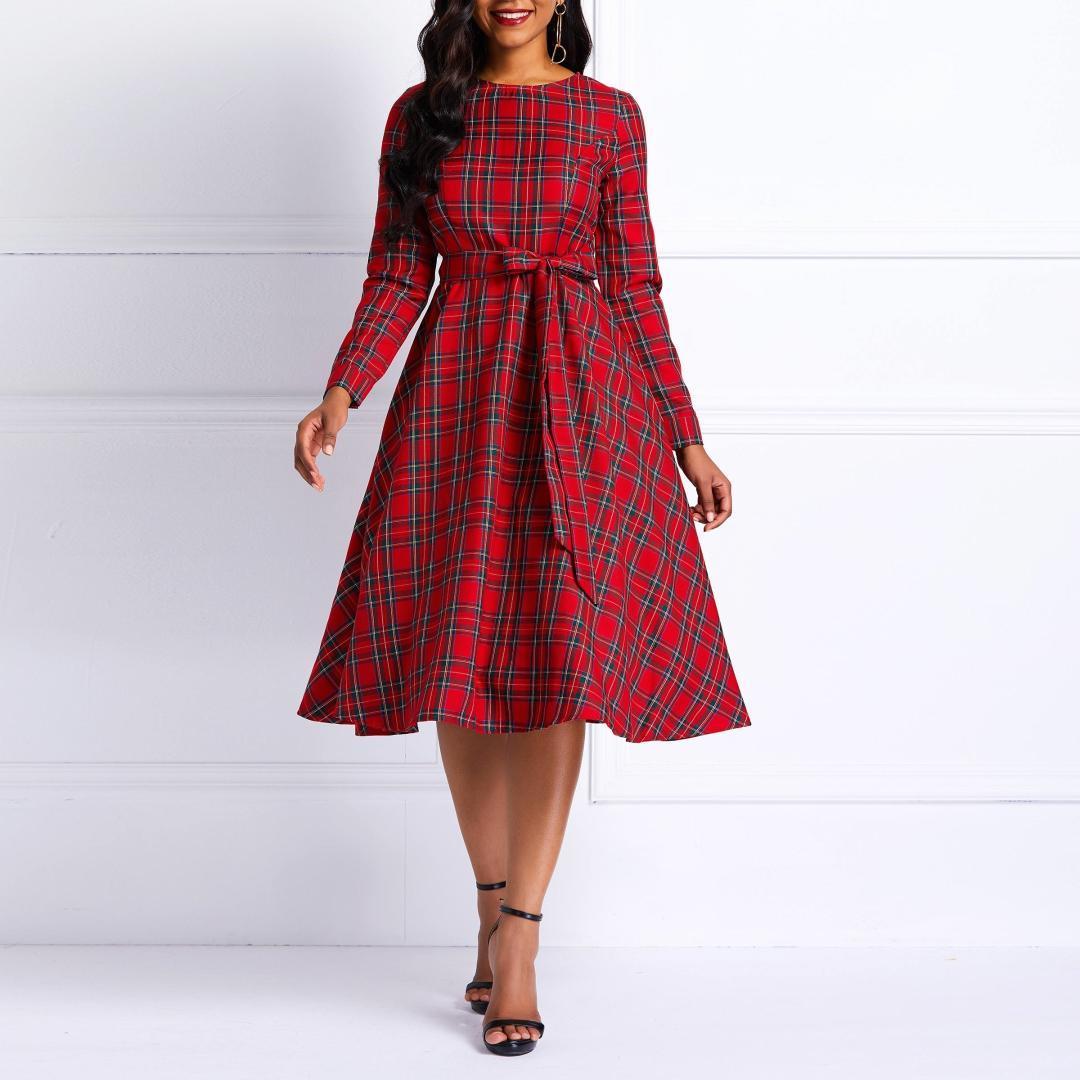 131638936 Compre Vestido Midi De Las Mujeres De La Vendimia Sexy Elegante Rojo A  Cuadros 3d Bowknot Moda De Mujer Con Estilo Dama Retro De La Venta Caliente  De La ...