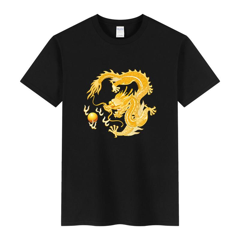 2019 New Design 100% Cotton Men's T Shirt China Dragon Pattern Print T Shirt Mens Fashion Summer Tops Men High Quality Clothing