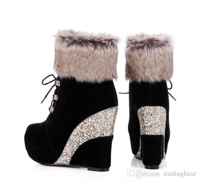 moda lüks tasarımcı kadın ayakkabı ayak bileği patik payetli platformu kama yüksek topuk kürk çizmeler boyutu 33 42 43