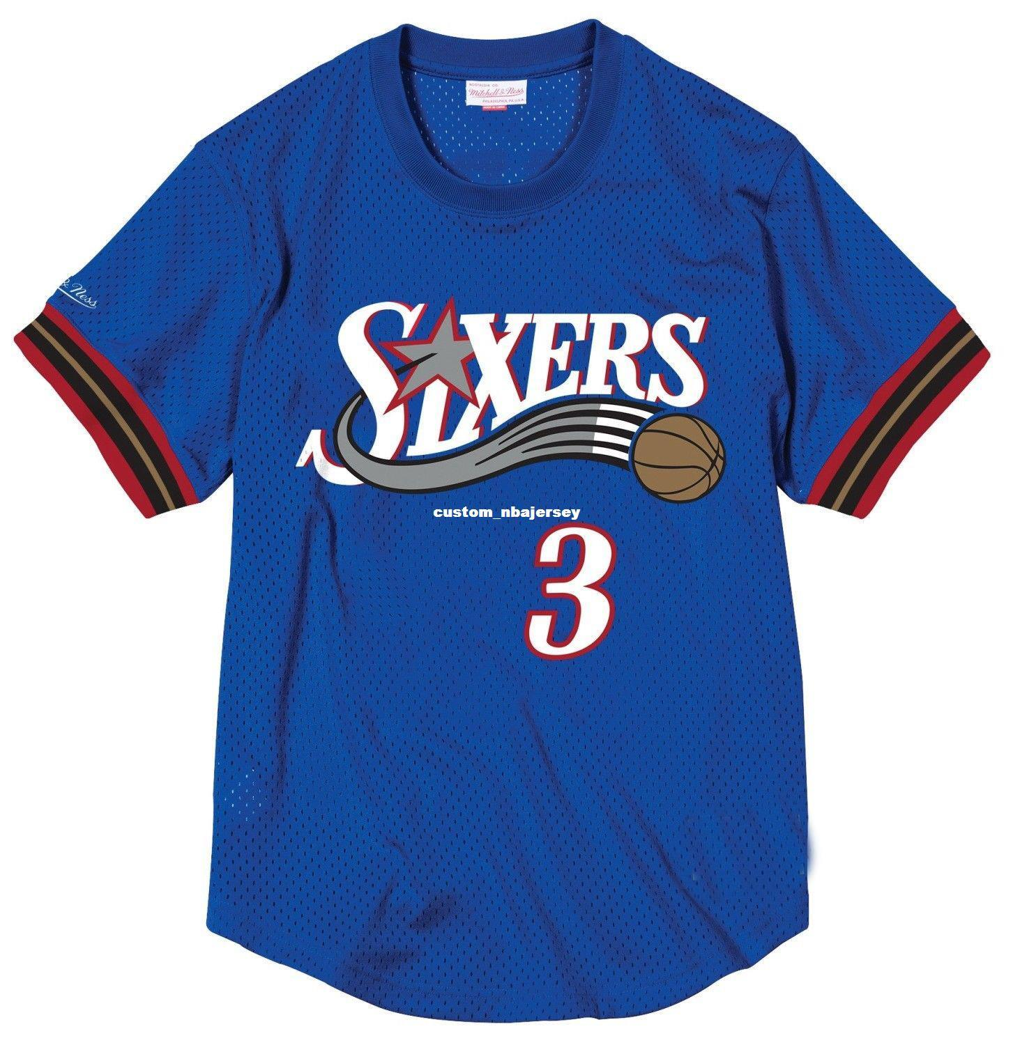 low priced dacb2 cc863 Cheap Custom Allen Iverson Mitchell & Ness Men s Mesh Jersey Shirt Mens  stitched Summer Tee Retro basketball jersey