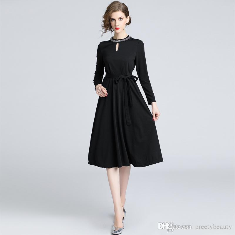 2019 Black Maxi Dress For Woman Career Formal Dress Lady Work Office
