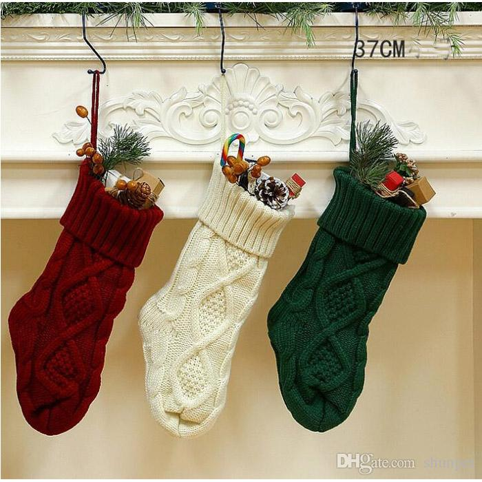 cfe73c7a 37CM Knitted Christmas Stockings Decoration Christmas Gift Bag Fireplace  Decoration Green Red White Christmas Sock DHL Free Ship Looking For  Christmas ...
