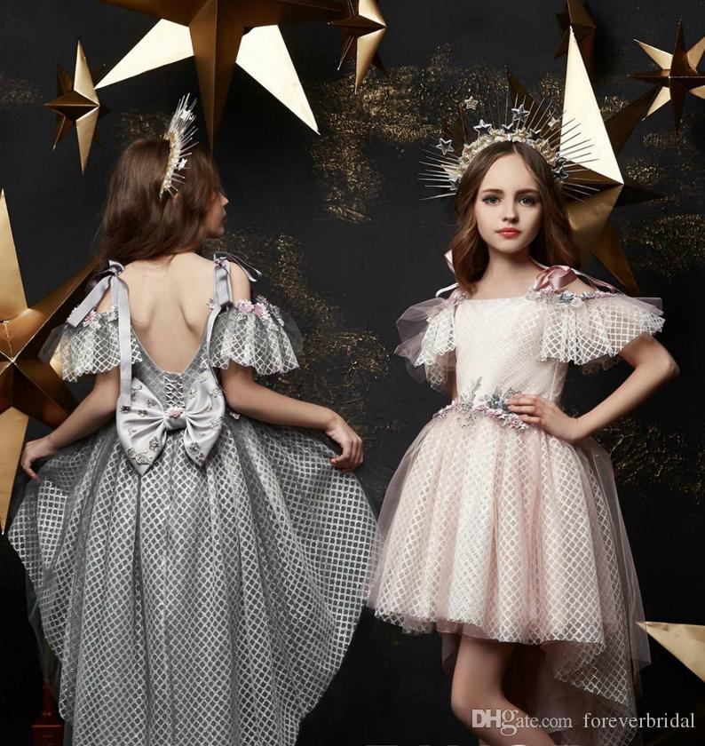 Fall Winter 2020 Flower Girls Dresses Short Sleeve Bateau Neck Girls Pageant Gowns Hi Lo Gorgeous Formal Prom Dresses