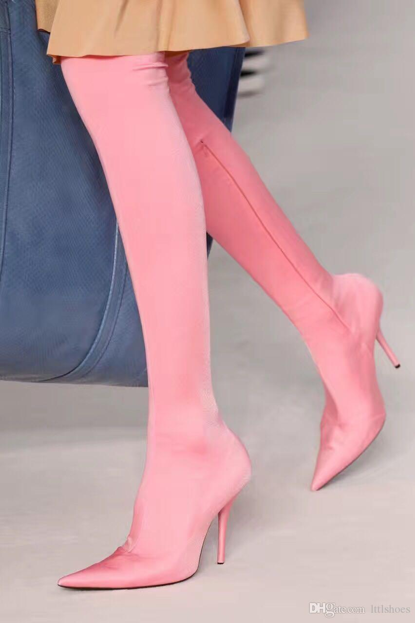 c2bb16a3641b6 2018 Sexy Pink Purple Black High Heels Over The Knee Satin Women Boots  Stretchy Sock Booties Thigh High Boots Stilettos Chelsea Boots Shoes Online  From ...