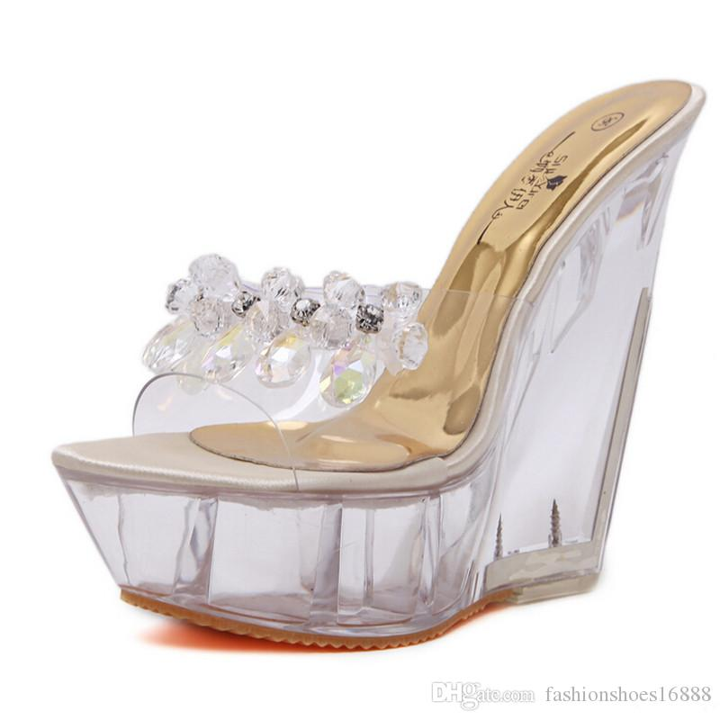 b2a9d312c306 14CM Ultra High Heels Crystal Platform Slippers Wedge Mules Transparente  Summer Slides Women Sandals 2019 Wild Sexy Shoes Women Womens Boots Work  Boots From ...