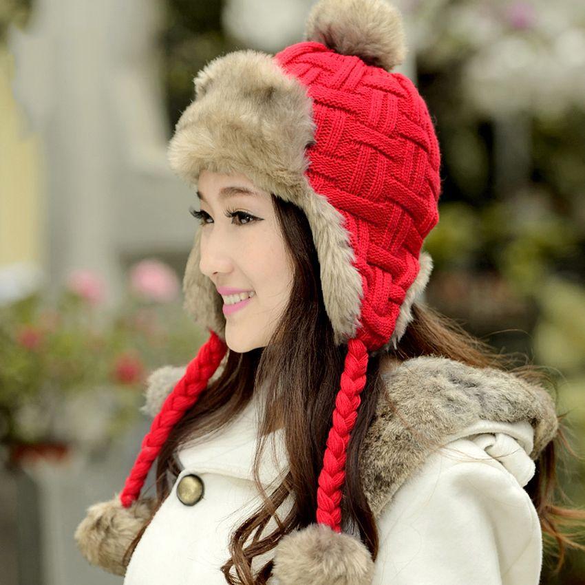 ccfb805ce7a Christmas Gift Women Trapper Hats Winter Warm Faux Fox Fur Bomber Hat  Beanies Russian Ushanka Wool Knit Pom Pom Earflaps Aviator Caps UK 2019 From  ...