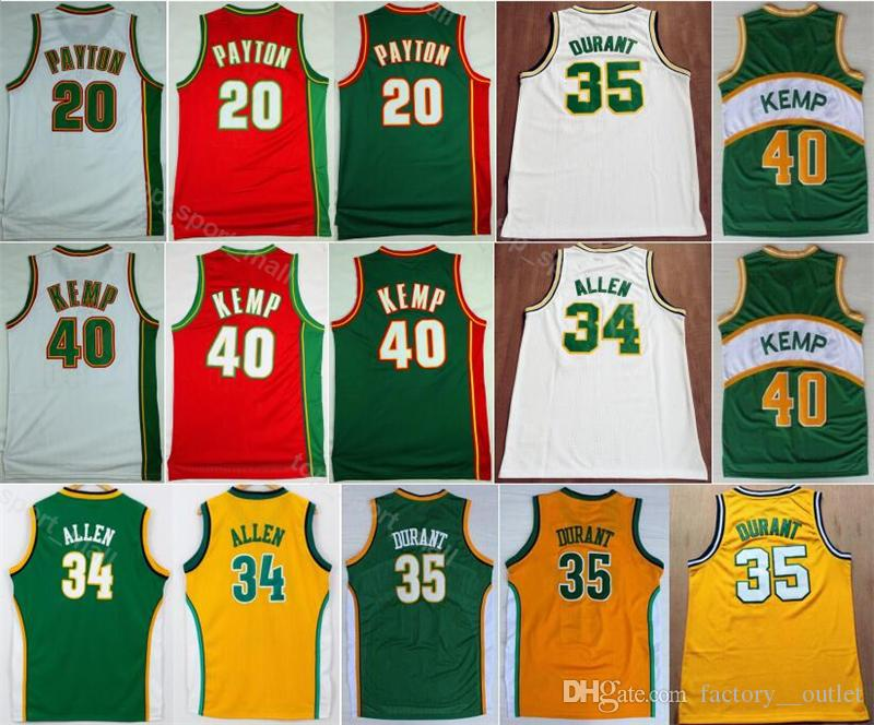 2019 Sale Basketball 20 Gary Payton Jersey Men Kevin 35 Durant Shawn 40  Kemp Ray 34 Allen Red Green Yellow White Sport Uniform From Vip sport 64b298eab