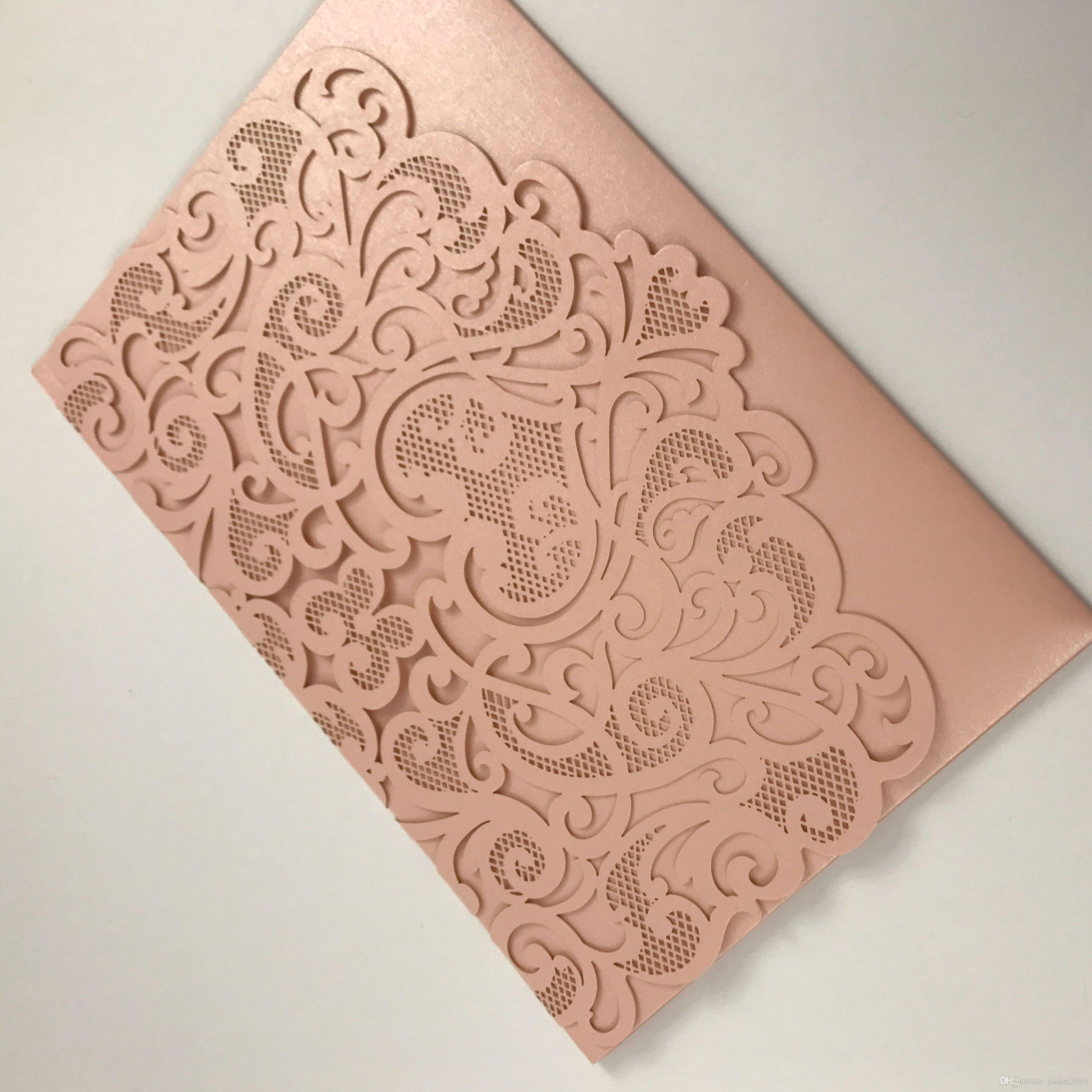 Many Colors Laser Cut Pocket Wedding Invitation 2019 Blush Trifold