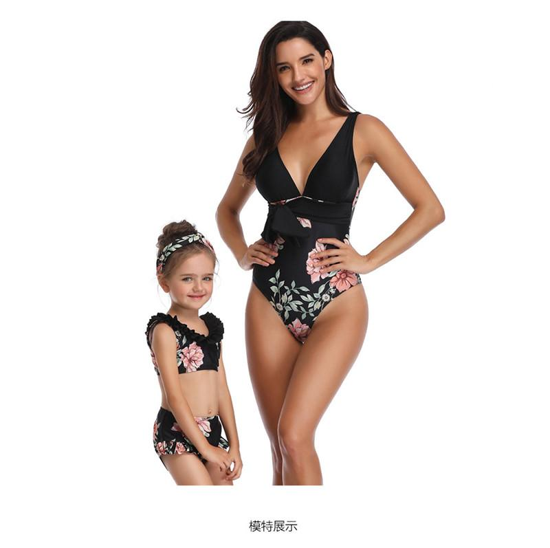 509daaad7d7f3 Mother Daughter Swimwear Mommy and Me One peace Bikini Bathing Swimsuit  Brachwear Mom Daughter Clothes Women black white Flora print
