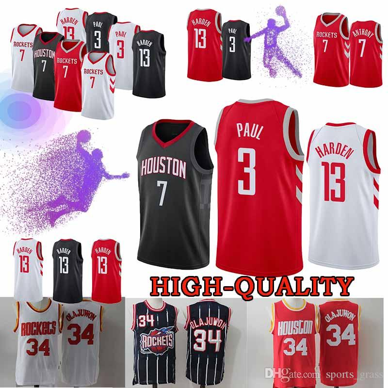 2cfd03d3717c 2019 Houston Chris Paul 3 Jerseys Rockets James Harden 13 Hakeem Abdul 34  Olajuwon Carmelo 7 Anthony Jersey Top Quality Youth Adult From  Sports grass