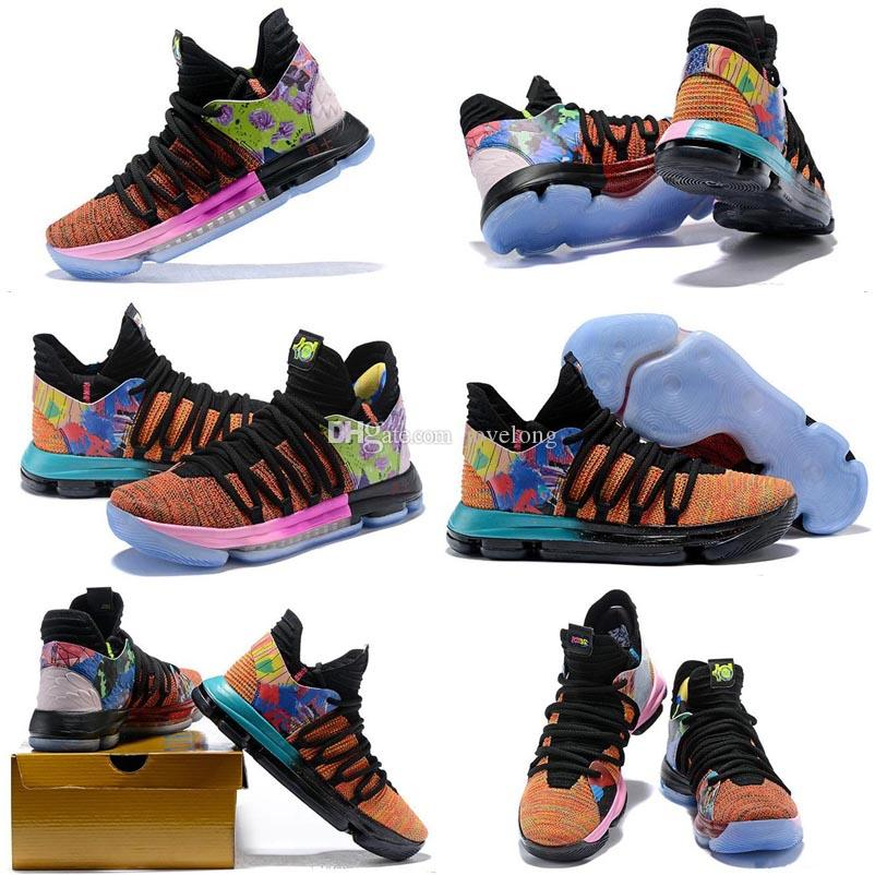 reputable site c5e6e 11973 2019 New Arrival What the KD X 10s Blue Pink Green Sports Basketball Kids  Shoes 10s quality Kevin Durant 10 EP Athletic Sneakers