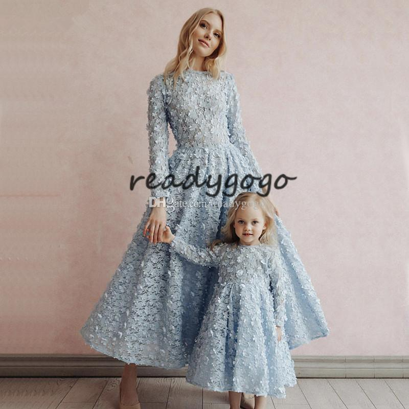 Latest Design sky Blue Crystal Flowers Evening Dresses 2019 Muslim Kaftan Long Sleeves 3D floral mother and daughter prom formal dress