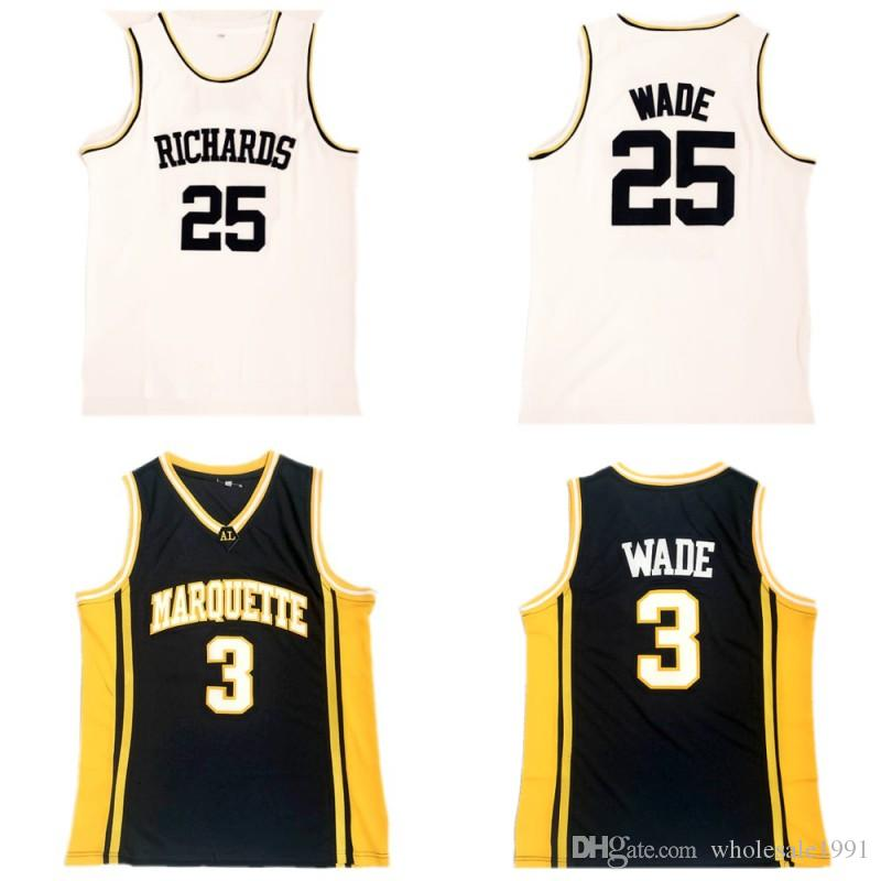 472881425 2019 3 Dwyane Wade NCAA College Basketball Jersey Marquette Golden Eagles  University Jersey Stitched Dwyane Wade Richards High School Shirt From ...