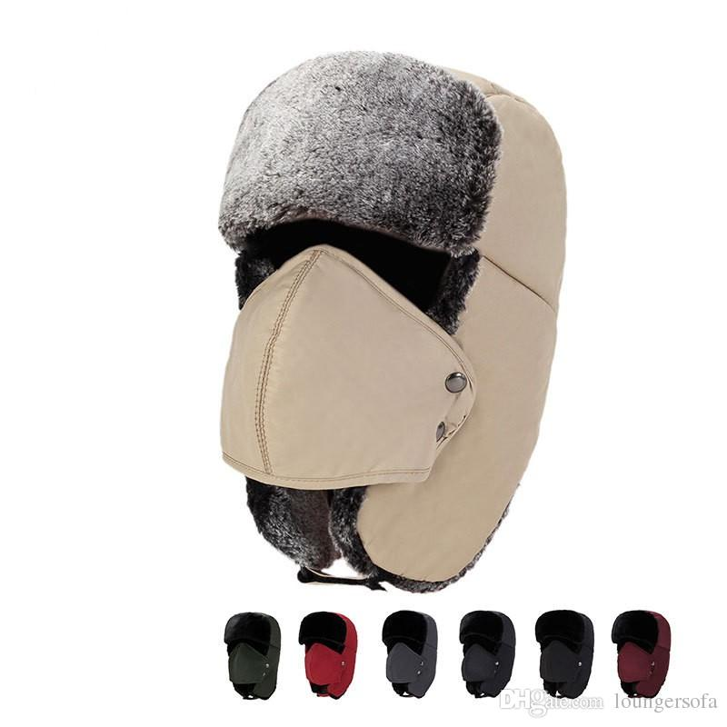 cef37af29a3 Outdoor Warm Ushanka With Ear Flaps Aviator Russian Plush Hat Winter ...
