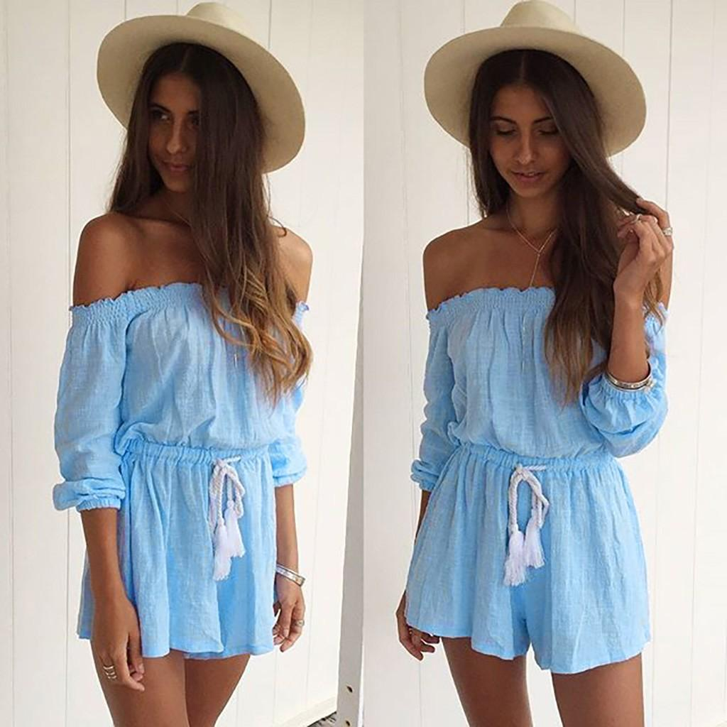 b15ff69ff250 2019 Summer Fashion Woman Solid Color Off Shoulder Playsuit Sexy High Waist  Ruched Short Sleeve Jumpsuit Blue Loose Playsuit From Makechic, $30.05 |  DHgate.