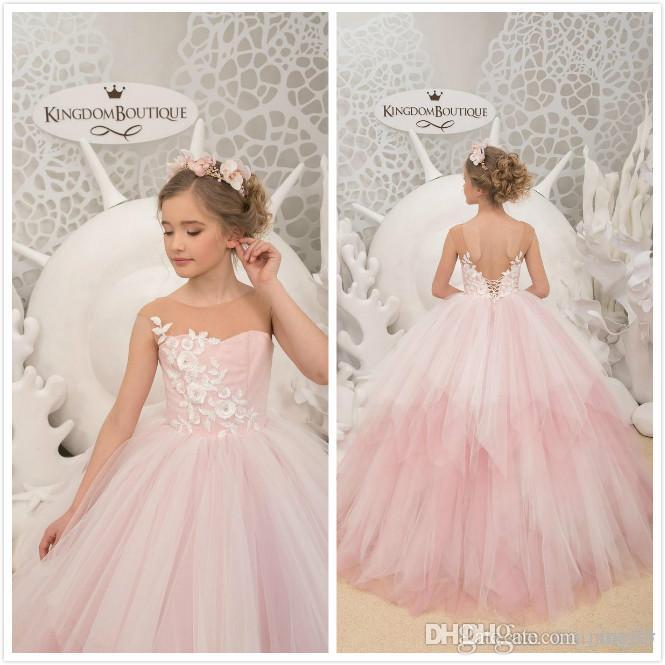 Pink Lace Beaded Flower Girl Dresses Sheer Neck Cheap Little Girl Wedding Dresses Vintage Communion Pageant Dresses Gowns