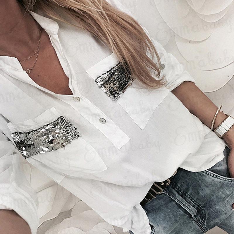 85992b2e6ae576 2019 2018 New Women White Blouse Long Sleeve Button Down Low Cut Blouse  White Casual Shirt Tops Fashion Clothes From Bidalina, $19.19 | DHgate.Com