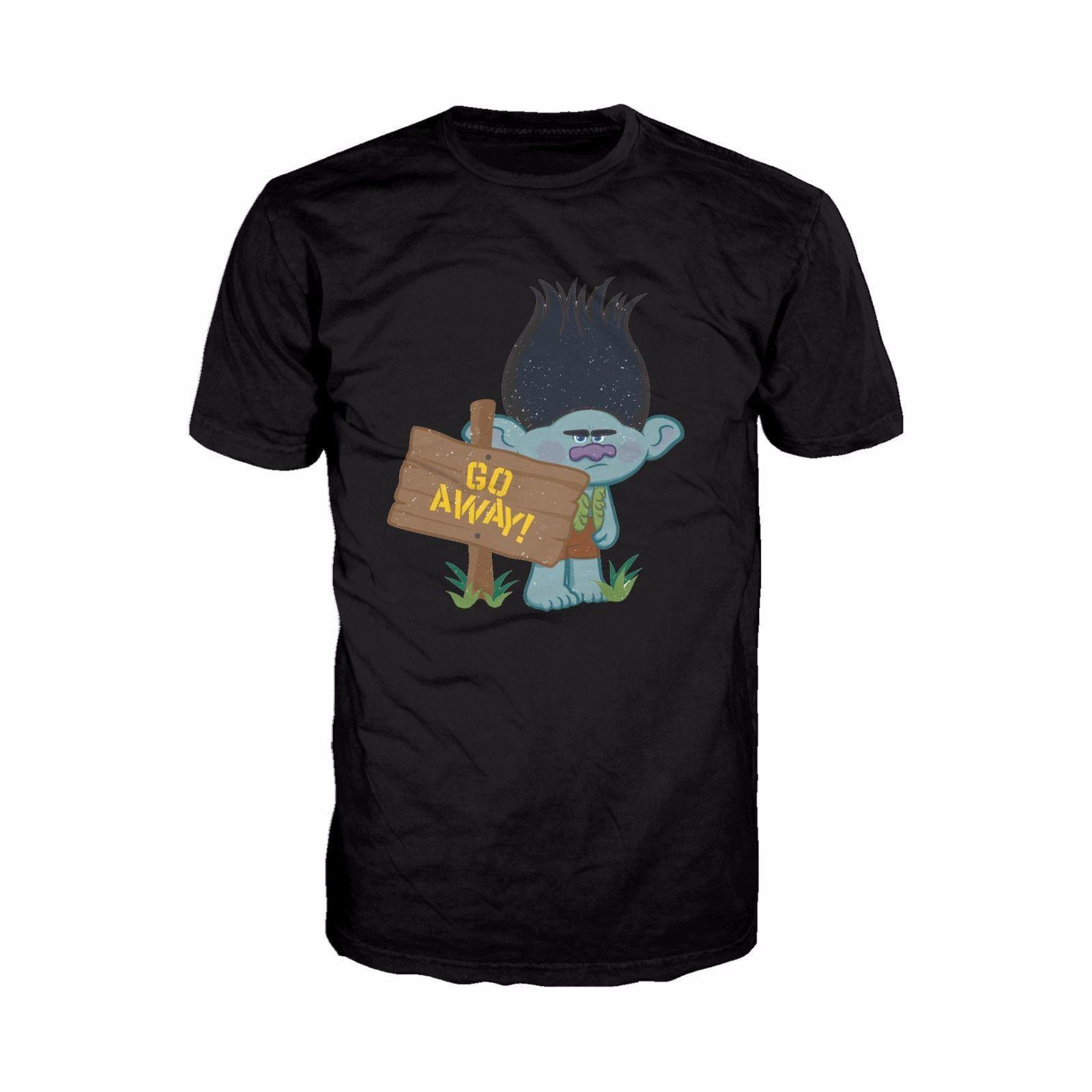 faa09b0e Trolls Movie Go Away Official Men'S T Shirt Black Dreamworks Funny ...