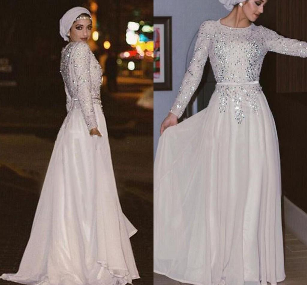 4c2719c6f8 2019 New Arabic Muslim Prom Dresses Jewel Neck Long Sleeves Lace Appliques  Crystal Beaded Chiffon Formal Plus Size Party Dress Evening Gowns Short  Plus Size ...