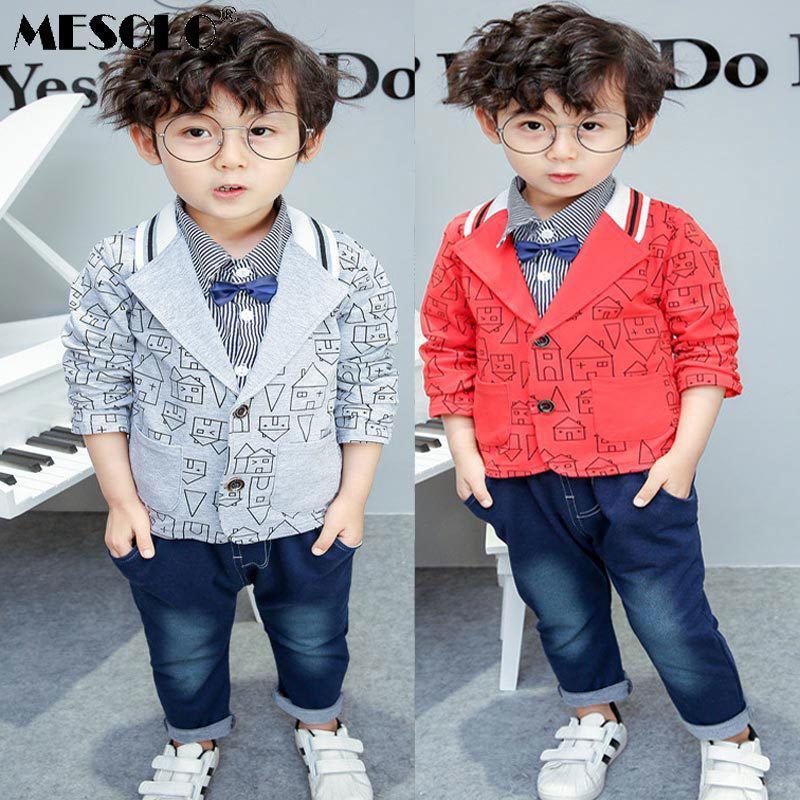 548cb7deb377 2019 Good Quality Boy Fashion Suit 2019 Autumn New Cartoon House ...