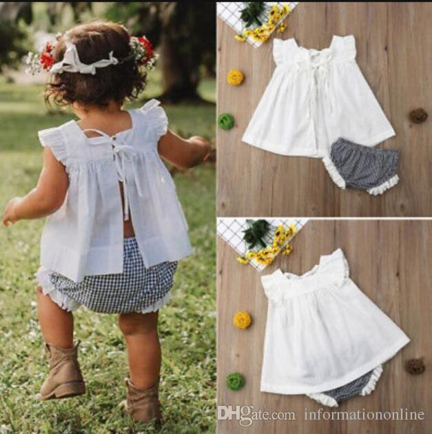 b0147e7cf241a Kids Designer Clothes Little Girls Summer Baby Outfits Infant Boutique  Clothing Toddler Children Bow Blouse Top Plaid Shorts Set