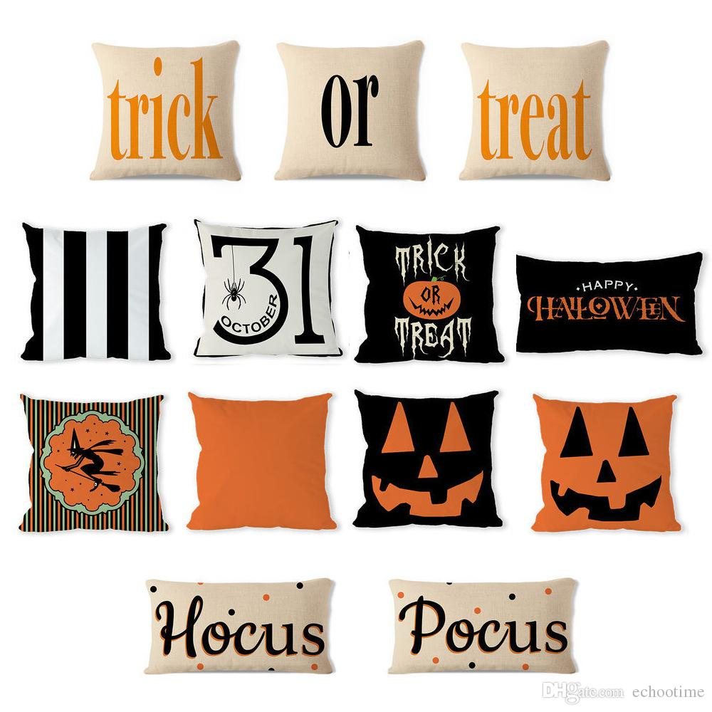 Halloween Decorative Abstract Pumpkin Treat Or Trick Home Decor Square Throw Pillow Case Covers Cotton Linen Pillowcases