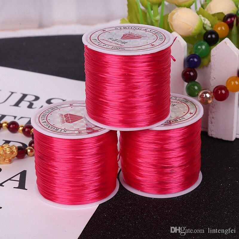 Dark pink 60m meters multi-color strong stretchable elastic bead line / rope / chain / line DIY bracelet jewelry production