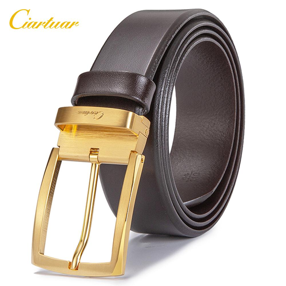 Ciartuar Leather Belt Men Genuine Leather belt Male Casual High Quality Business Luxury Pin Buckle Trouser Waist Gold