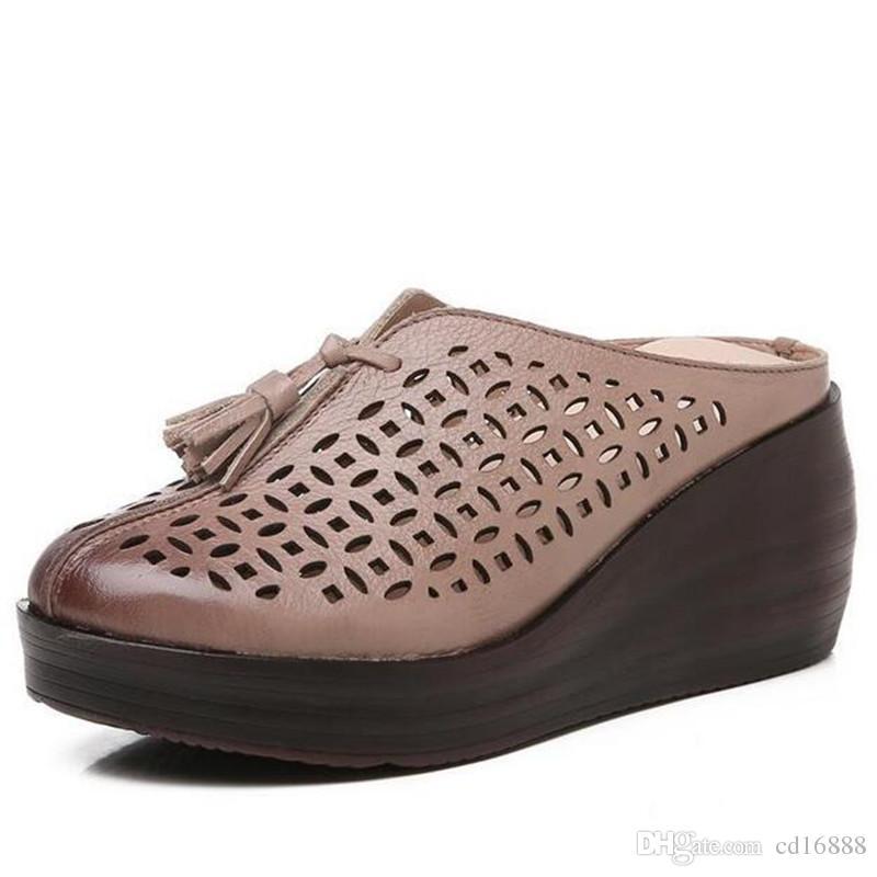 Cuero Hollow Sandalias Alto Tacón Zapatillas 2019 Genuino Verano Zapatos Estilo Nuevo Cuñas Retro De Moda Borla Mujer X8nwk0OP