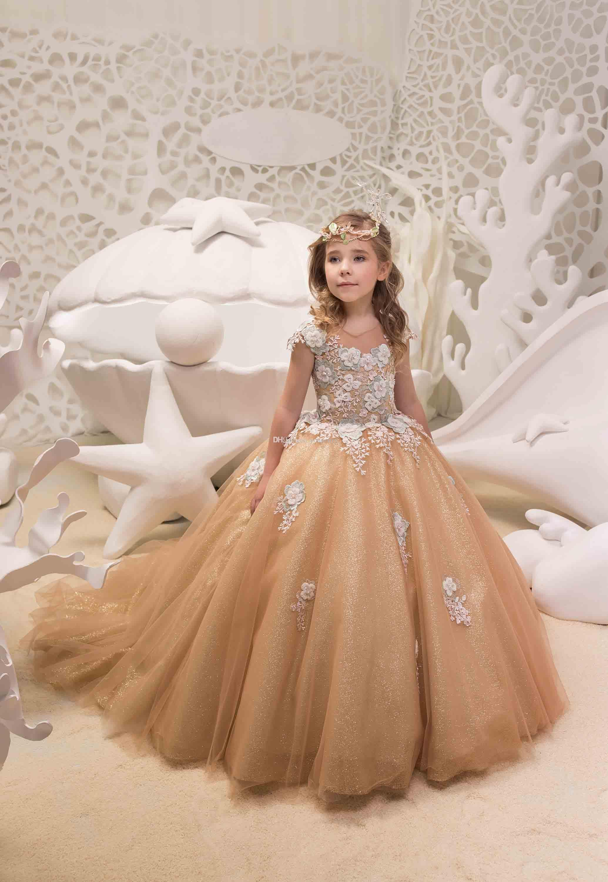 061984cd 2019 Ball Gown Gold Girls Pageant Gowns Lace Applique Sleeveless Cheap  Flower Girls Dresses Children Organza Kids Birthday Party Dress Toddler  Dresses Cheap ...