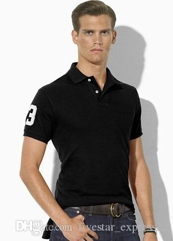 Gift High Quality Men's Classic Polo Shirts Club Number 3 Big Pony Embroidery Solid Polos for Boys Sport Tees White Black Sky Blue