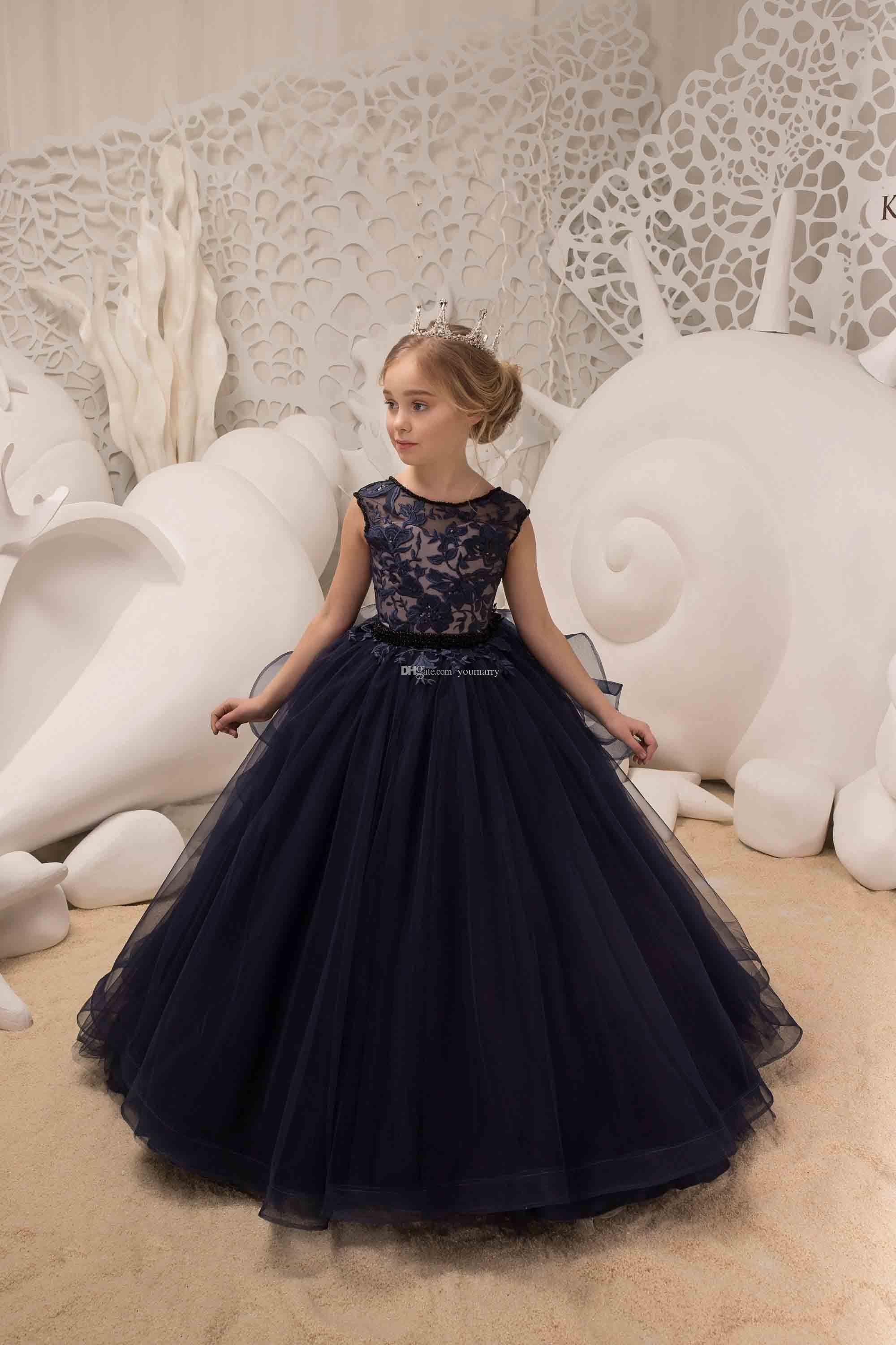 c8848a6a0659 2019 Cute Mermaid Girls Pageant Gowns Lace Applique Sleeveless Cheap Flower  Girls Dresses Children Organza Kids Birthday Party Dress Infant Dress  Ladies ...