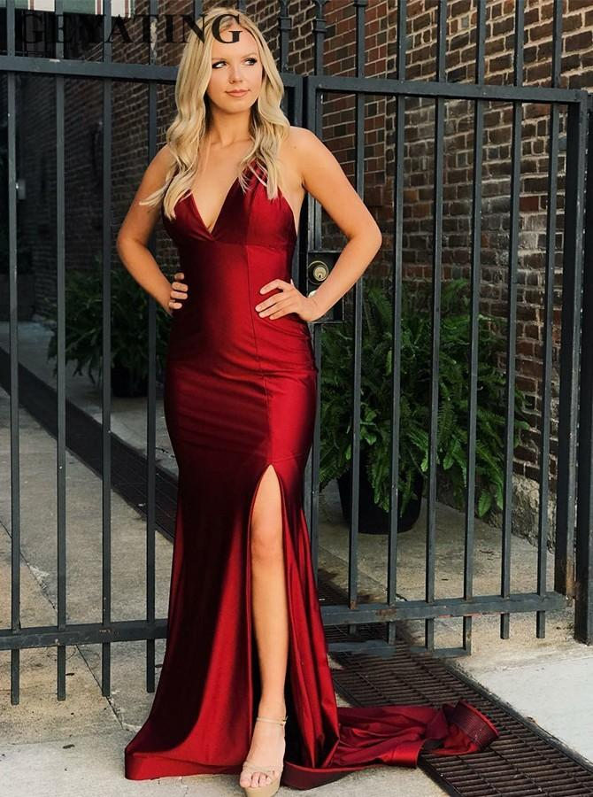 Sexy V-Neck Backless Mermaid Burgundy Prom Dresses with Split Spaghetti Straps Criss Cross Long Party Evening Gowns Formal Dress