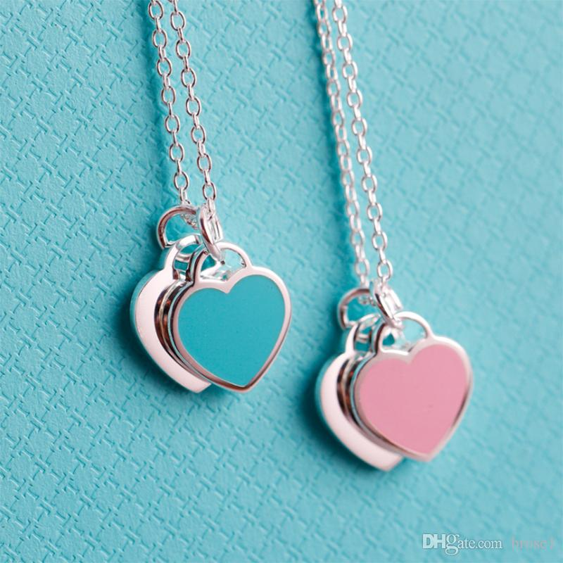 Romantic Europe Style Heart Pendant Necklace blue Pink bracelet Double Heart Link Chain Necklace For Woman Jewelry