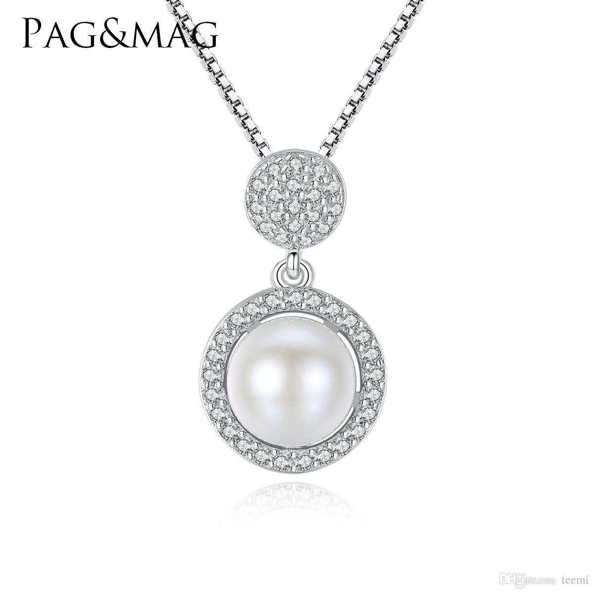 d85f6515644f Compre PAGMAG Marca 925 Joyas De Plata Moda Collar De Perlas Naturales  Blancas Estilo Pequeño Y Encantador Para El Regalo De La Novia Enviar Caja  Gratis A ...
