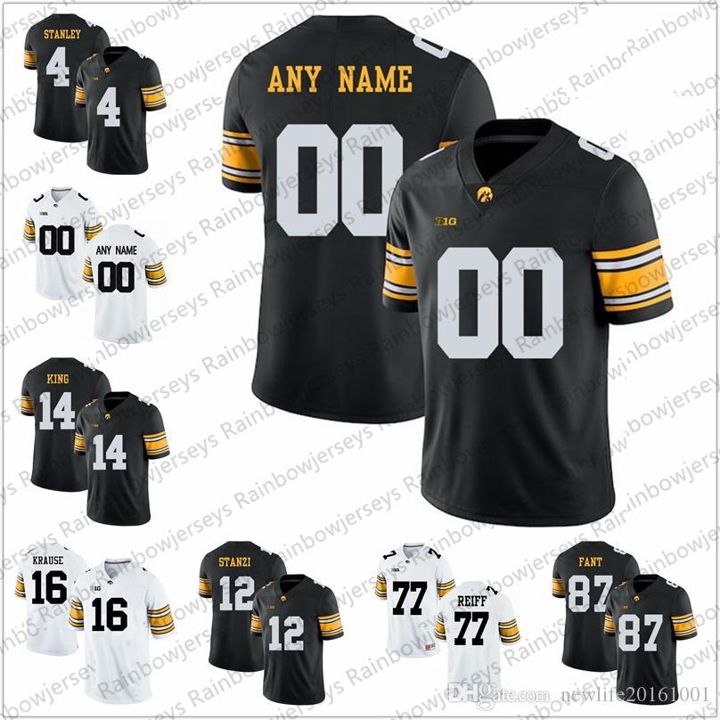buy online c1e89 1f55d Custom 2019 Iowa Hawkeyes Football Jersey 4 Nate Stanley 43 Josey Jewell 94  A.J. Epenesa 71 Mark Kallenberger 74 Tristan Wirfs S-3XL