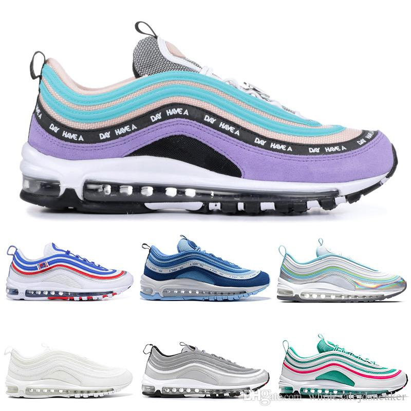 new style 55d24 d2e02 Acquista Nike Air Max 97 97s Shoes Scarpe Da Corsa Triple Bianco Nero  Undefeated Pack All Star Jersey Have A Day Uva South Beach Silver Bullet  Uomo Donna ...