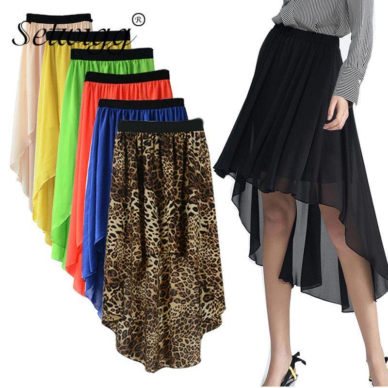 f195a76db Faldas de gasa de verano para mujer de moda asimétrica falda larga cintura  elástica sólido alto bajo la pantorrilla falda de gasa larga rosa ...