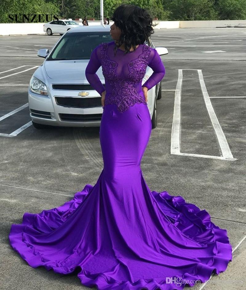 Purple Prom Dresses 2019 Mermaid Long Sleeves Party Gowns For Black Girls Appliques Illusion Bodice Sexy Women Dress Long Jersey