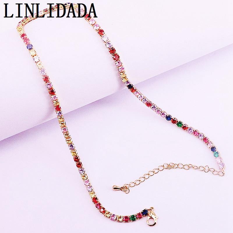 5Pcs women sparking rainbow cz tennis link chain fashion Modern jewelry 2019 summer statement nice necklace