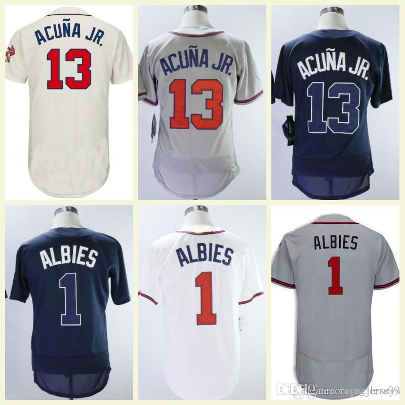 separation shoes afbe2 42719 2018 Ozzie Albies Ronald Acuna Jr . Jersey Red Blue White Grey Cream Flex  Base Cool Base Baseball Jersey New Braves Jersey Top Quality !