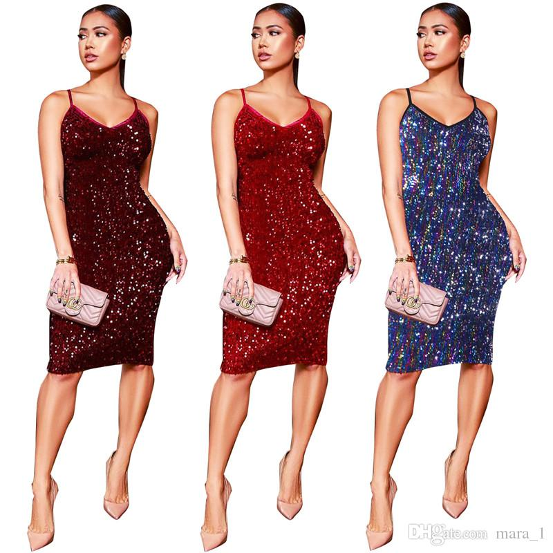 Frauen pailletten kleid party rock mit schultergurten nachtclub sexy glitter knielangen slip dress bling bling frauen clubwear