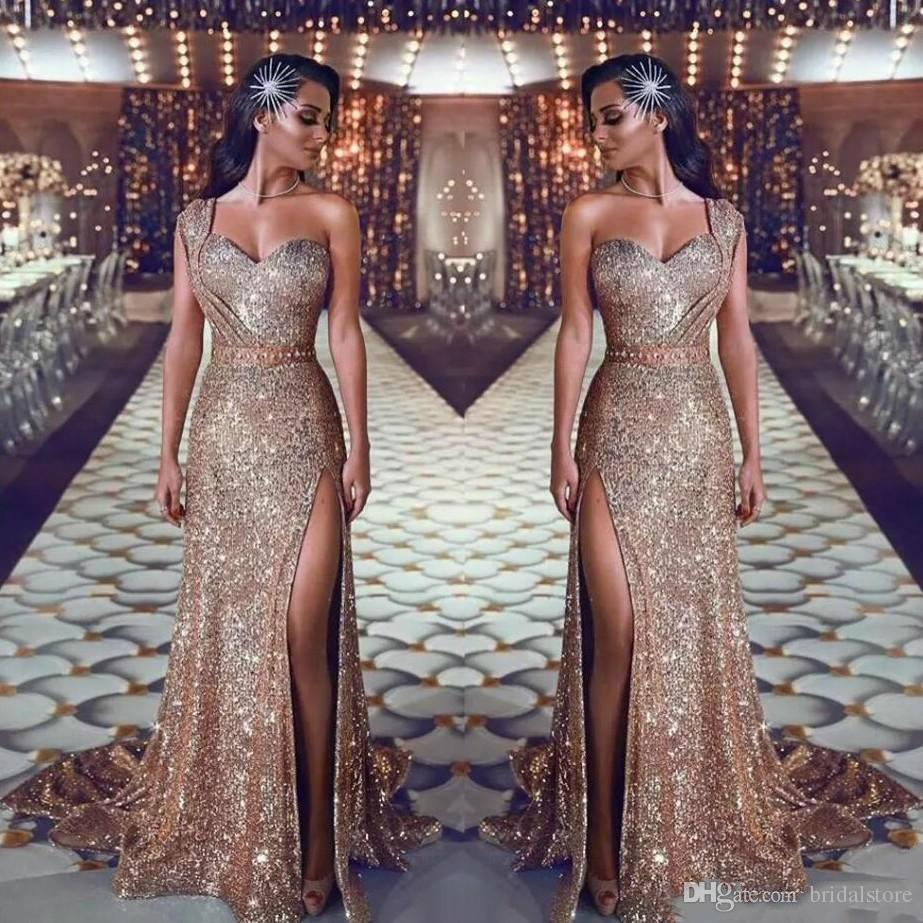 Sexy High Slit Prom Dresses 2019 Sparkly Sequins Saudi Arabia Prom Gowns  One Shoulder Sweep Train Formal Party Dresses With Beaded China Prom Dresses  For 12 ... 5c7cae044751