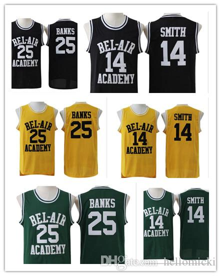 Maglia da basket da uomo Will Smith 25 Carlton Banks Green Black Green Stiched Il fresco principe di Bel Air Accademy Number Logos