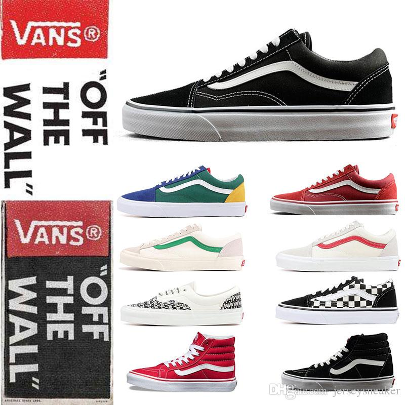 b7dd216380 2019 New Original Vans Old Skool Sk8 Hi Mens Womens Canvas Sneakers Black  White Red YACHT CLUB MARSHMALLOW Fashion Skate Casual Shoes Size 36 44 From  ...